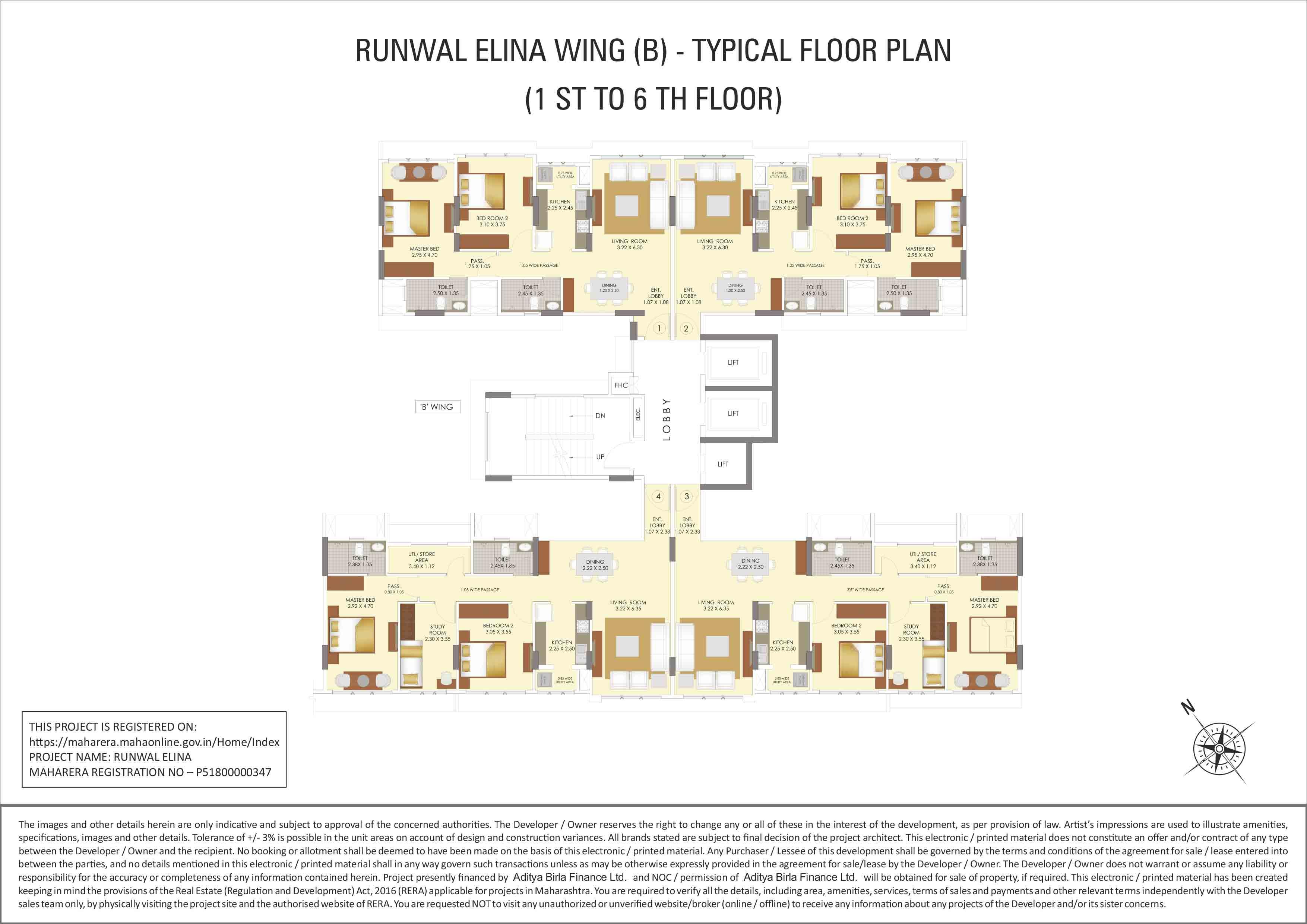 Runwal Elina Plans 3 Bhk Luxury Flats In Saki Naka Andheri East Diagram Sixth Floor Layout 1st To 6th Plan